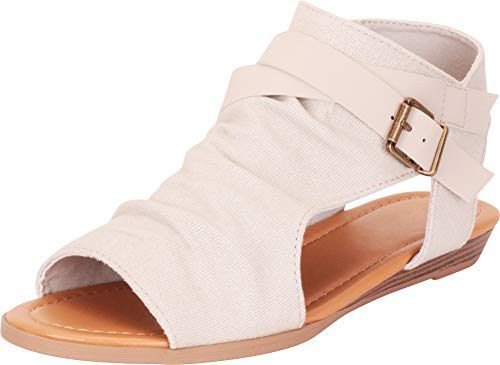 - Cambridge Select Women's Strappy Buckle Cutout Wedge Sandal,10 B(M) US,Mushroom