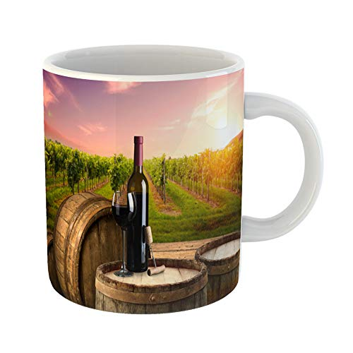 Emvency Coffee Tea Mug Gift 11 Ounces Funny Ceramic Ripe Wine Grapes on Vines in Tuscany Italy Picturesque Farm Vineyard Sunset Gifts For Family Friends Coworkers Boss Mug]()