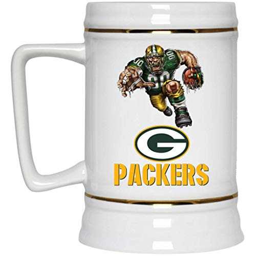 Green Bay Packers Beer Mug Packers Player Logo Beer Stein 22 oz White Ceramic Beer Cup NFL NFC Perfect Unique Gift for any Cheesehead Packers Fan