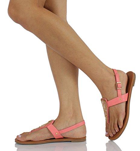 CityClassified M City Nandy Womens Slingback US Flat Strap Classified 65 Faux Salmon Sandals Embroidery Leather Bead T Zqx5TwA