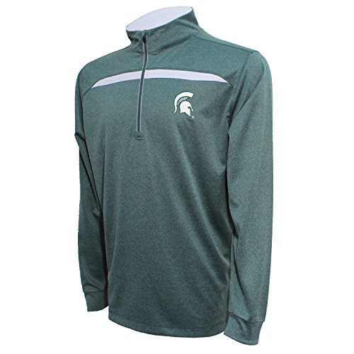 Crable NCAA Michigan State Spartans Adult Men's Quarter Zip with Contrast Panel, Large, Dark Green/White -