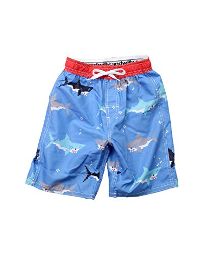 Wes and Willy Boys Wes Willy Bitmap Sharks Swim Trunk, 10/12 ()
