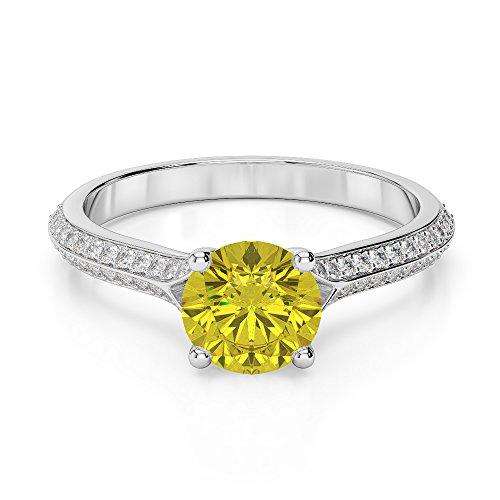 G-H/VS 1CT Coupe ronde sertie de diamants Saphir Jaune et bague de fiançailles en platine 950Agdr-1200