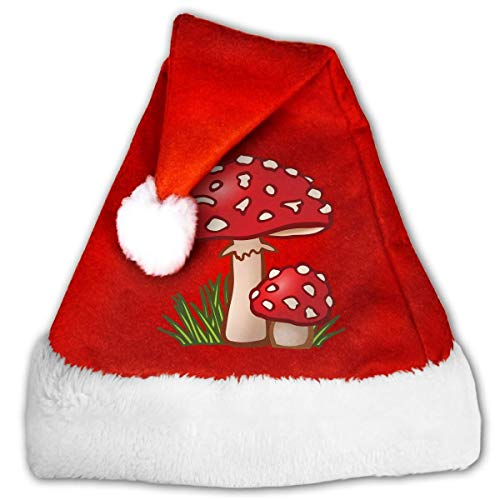 (Mushroom House Clipart Plush Santa Hat Comfortable Double Thick Plush Red Velvet Cap)