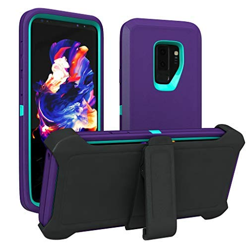 Galaxy S9+ Plus Case, ToughBox [Armor Series] [Shock Proof] [Purple | Aqua] for Samsung Galaxy S9+ Plus Case [Comes with Holster & Belt Clip] [Fits OtterBox Defender Series Belt Clip Cover]