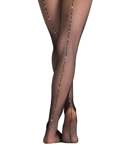 Body Wrappers A64 Women's Backseam Fishnet Tights with Rhinestones (Small/Medium, Black) (Wrapper Tights Nylon)