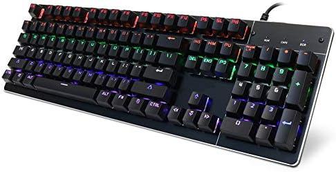 メカニカルキーボード、RGBバックライトゲーミングキーボード、ブルースイッチ、104キーUKレイアウトEスポーツキーボード、USB有線、ゴーストなし