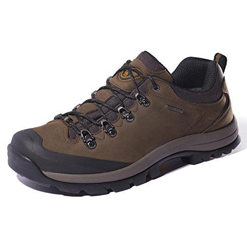 (CAMEL CROWN Hiking Shoes Men Trekking Shoe Low Top Outdoor Walking Waterproof Leather Trail Sneakers Brown 7 D(M) US)