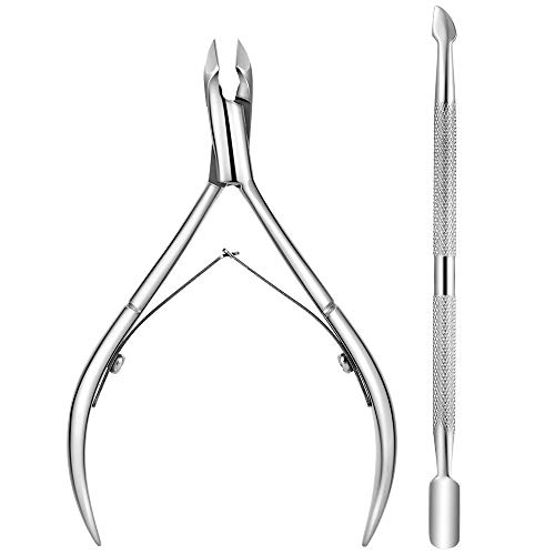 Cuticle Nipper with Pusher, Surgical Grade Stainless Steel Cuticle Cutter and Remover - Durable Manicure and Pedicure Tool for Dead Skin, Men, Women by AyeC