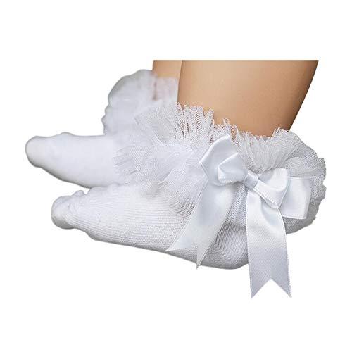 CUSHY y Girls Lace Ruffle Frilly Mesh Ankle Socks Bowknot Princess Cotton Short Socks Black