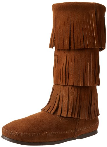 Minnetonka Women's Calf Hi 3-Layer Fringe Boot,Dusty Brown,8 M US - Hi Fringe Boot