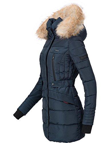 Navy Nova Winter Puffer 6 Long Coat Fur Colors Marikoo XXL XS with Ladies Faux ASw6Owq