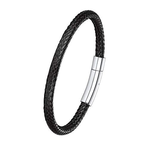 Mens Black Leather Bracelet Cord 5mm 22CM Black Stainless Steel Magnetic Clasp Leather Bracelets for Men Waterproof Cuff Bracelet
