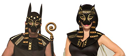 Egyptian God Anubis Mask and Bastet Mask Halloween Costume Accessory Couple Set ()