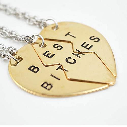 Zoe & Xander Gold Toned 3 Way Best Friend Necklace Set, BFF, Best Bitches