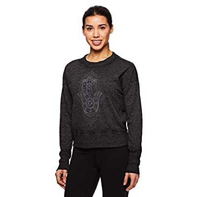 Gaiam Women's Pullover Yoga Sweater - Long Sleeve Graphic Activewear Shirt: Clothing