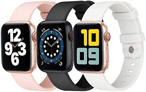 eCamframe 3 Pack Sport Watch Bands Compatible for Apple Watch Band 38mm 40mm 42mm 44mm, Soft Waterproof Silicone Replacement Wristband Strap Compatible with iWatch SE, Series/6/5/4/3/2/1(38mm 40mm)