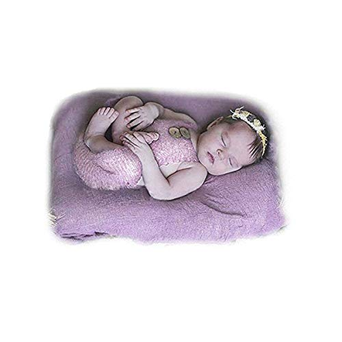 - Newborn Baby Girl Boy Outfits Costume Photography Prop Mohair Knit Rompers (Light purple, One Size)