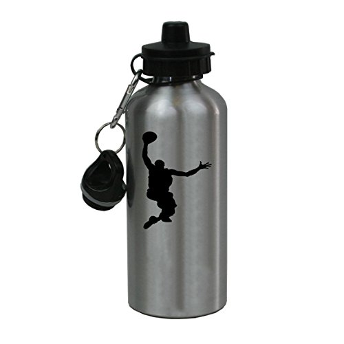 Personalized Custom Basketball Dunking Aluminum Silver Finish 20 Ounce Water Bottle Customizable ()