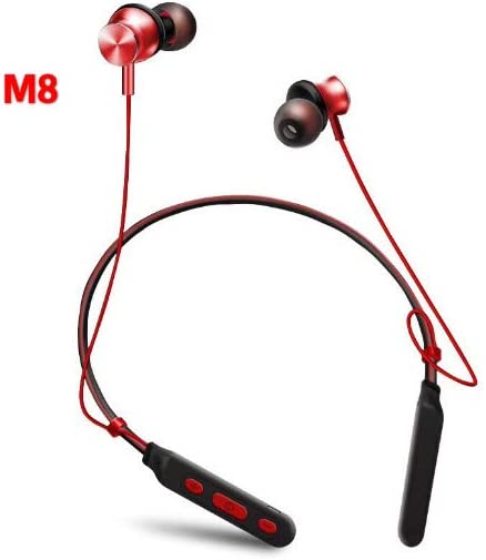 Wireless Earphones Bluetooth Running Waterproof Headphones Sports Neckband Earbuds Noise Canceling Handsfree Headset with Microphone for Smartphones (M8) (Red)