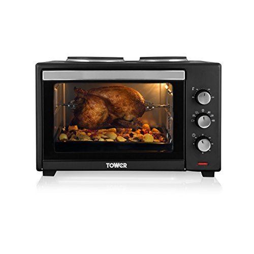 Tower T14014 Stainless Steel Mini Oven with Double Hotplates and...