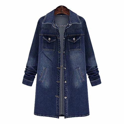 Women's Denim Jean Jacket Casual Long Sleeve Loose Trench Coat Outerwear Girls Fashion Top Outercoat Windbreaker Large Blue