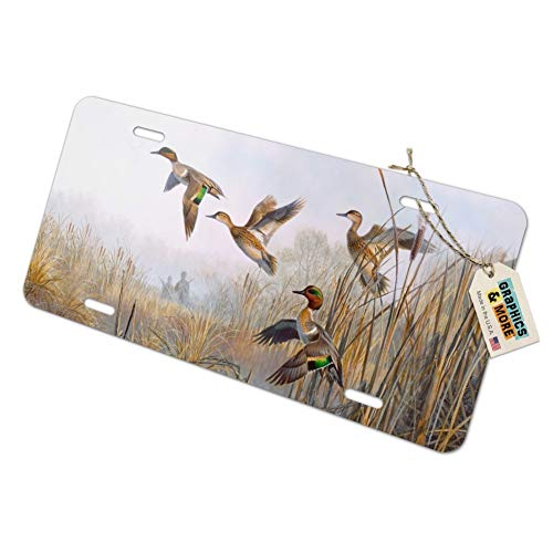 (Graphics and More Green-Winged Teal Ducks Taking Flight Hunters Hunting Novelty Metal Vanity Tag License Plate)