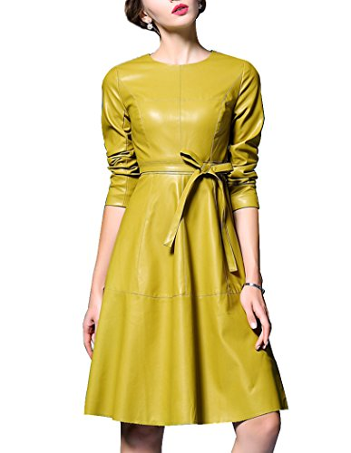 Women's Elegant Faux Leather Long Sleeve Party A-line - Leather Belted Dress