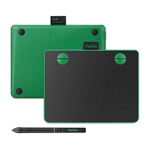 Parblo A640 Drawing Tablet with 8192 Levels Battery-Free Stylus Pen, 7.2 x 5.9 Inches Graphic Drawing Tablet for Digital Art Works, Drawing, Sketch, Design, Paint (Green)