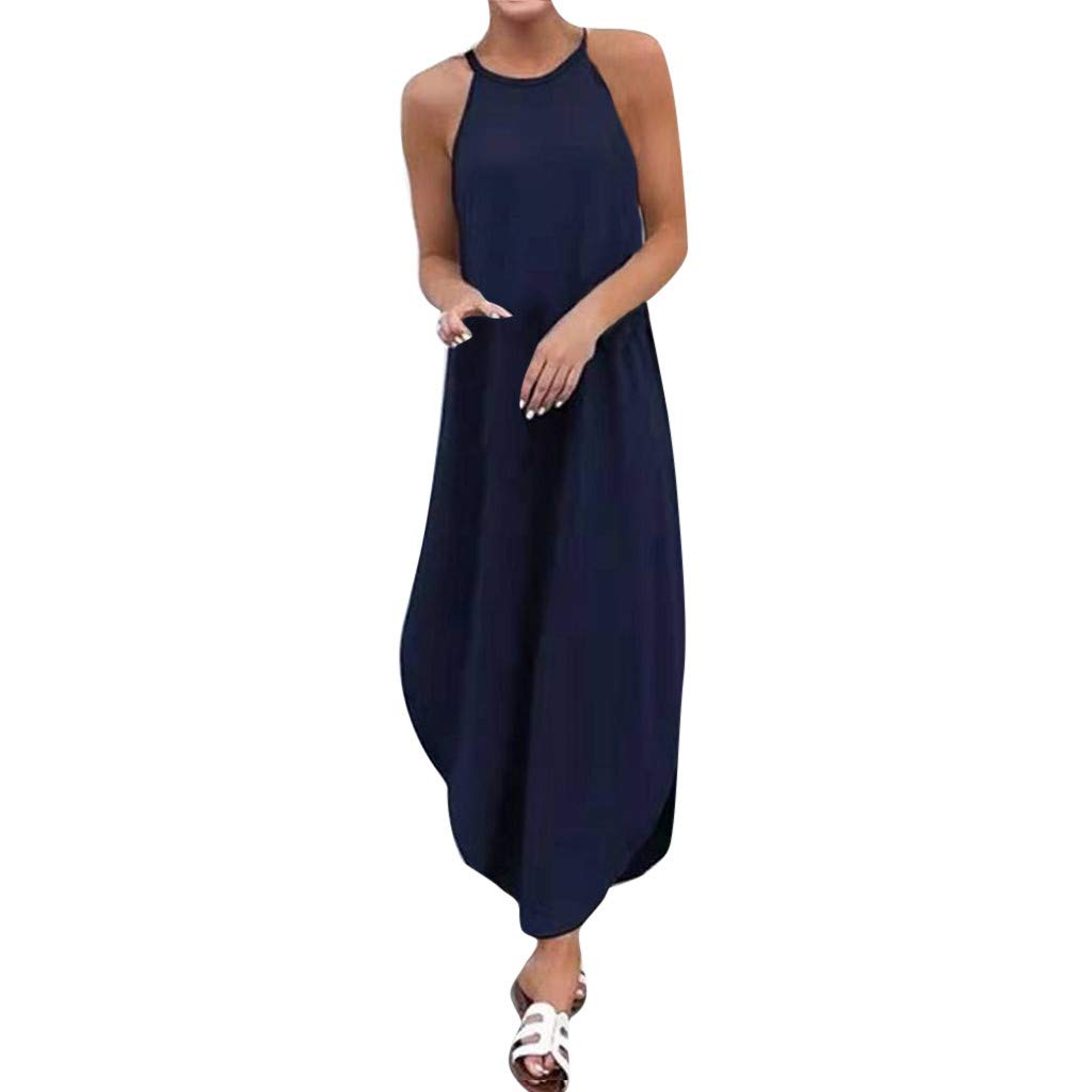 ℱLOVESOOℱ Women's Solid Round Neck Sleeveless Sling Pleated Maxi Dress Elegant Off Shoulder Dovetail Dress Holiday Dress Dark Blue