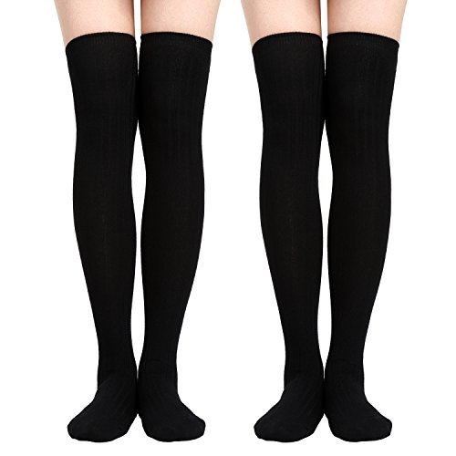 Satinior 2 Pairs Over Knee High Socks Thigh High Stockings Long Winter Crochet SocksSatinior 2 Pairs Over Knee High Socks Thigh High Stockings Long Winter Crochet Socks (Black)