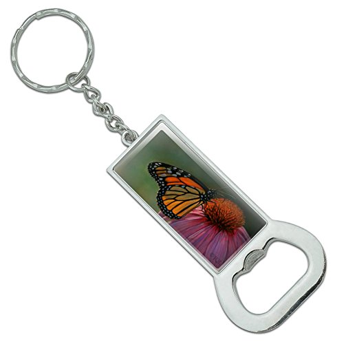 Monarch Butterfly and Coneflower Rectangle Chrome Plated Metal Bottle Cap Opener Keychain Key Ring - Monarch Metal Tags
