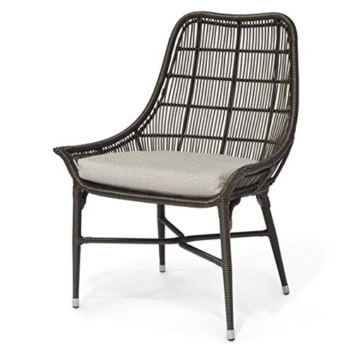 Kathy Kuo Home Palecek Lucca Modern Classic Espresso Outdoor Chair - Natural Sand (Palecek Wicker Chairs Dining)