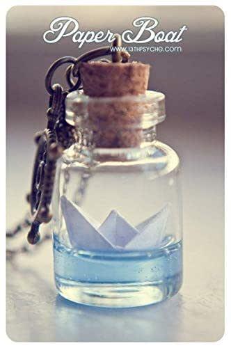 Botella de barco de papel collar. Origami barco lámpara colgante ...