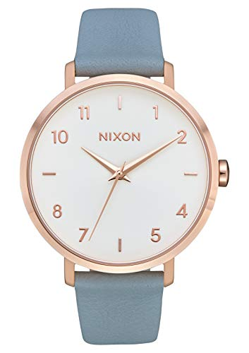 Nixon Arrow Leather Rose Gold/Blue Casual Women's Watch (38mm. Rose Gold & White Face/Blue Leather Band)