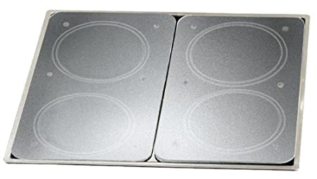 Wenko 2712663100 Cubierta de Cocina Universal - Juego de 2, para Todos los Tipos de cocinas, Vidrio endurecido, 30 x 1.8-4.5 x 52 cm, Transparente