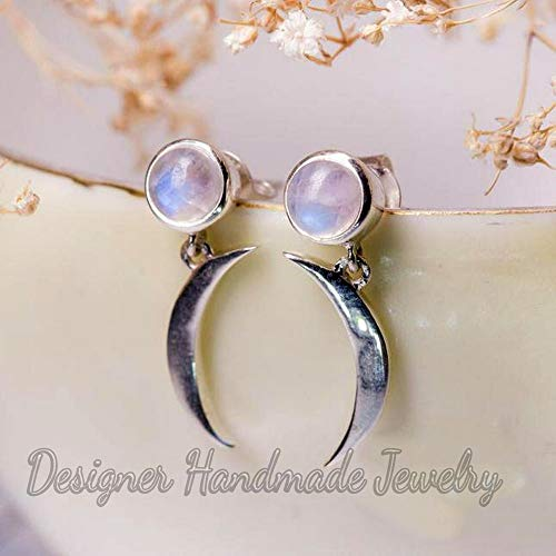 rainbow moonstone earring, crescent moon designer earrings, beautiful earrings, fire moonstone stud earrings, stud earrings, handcrafted stud earrings, pushback earrings, sterling silver 925 earrings