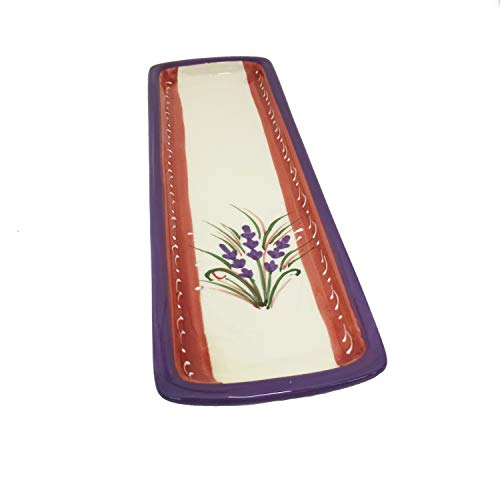 Terre 015265 Lavender Design Ceramic Rectangular Spoon Rest, 11