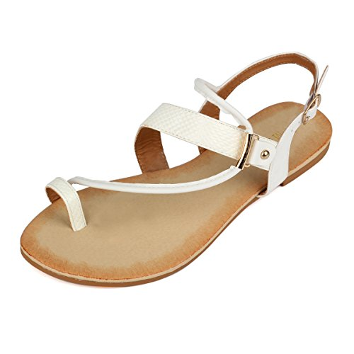 White Leather Strap Sandal (Mu Dan Women's Thong Flat Gladiator Summer Sandals (9 B (M) US, White))