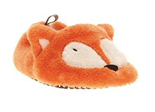 Girls Boys Baby Critter Animals Prewalk Slippers - Size 2, Orange Fox - Image 1