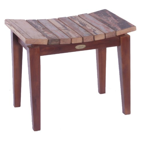 UPC 852659902774, Recycled Boat Wood and Solid Teak Indoor Outdoor Asia Bench- Sojourn Style Asia Stool