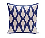 E By Design Geometric Decorative Outdoor Pillow, 20-Inch, Dazzling Blue