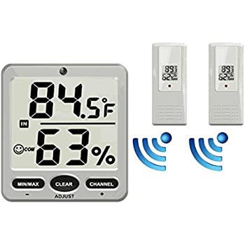 Ambient Weather WS-07-X2 Big Digit 8-Channel Wireless Thermo-Hygrometer with Two Remote Sensors