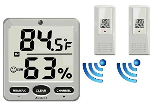 Ambient Weather WS-07-X2 Big Digit 8-Channel Wireless Thermo-Hygrometer with Two Remote Sensors (Remote Sensor Weather Thermometer)