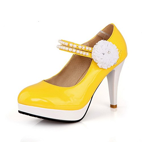 UK Yellow Toe Pumps Spikes Heels Patent Round with Closed Womens Stilettos VogueZone009 5 Solid PU Leather High 2 Toe Flower qnOHa0wI