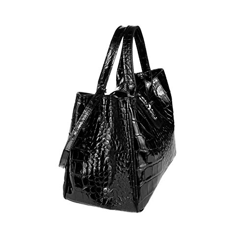 Leather bxhxt In 37x24x17 Italy Made Tote Black patent Cm Women's Bag AwZnRq67