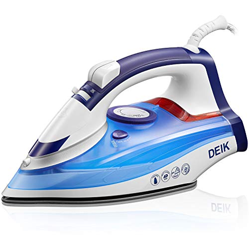 Deik Steam Iron, Anti-Calc Non-Stick Ceramic Soleplate Iron with Self-Cleaning Function, Variable Temperature, Steam Control, Steam Boost Control up to 25g / min, White/Blue