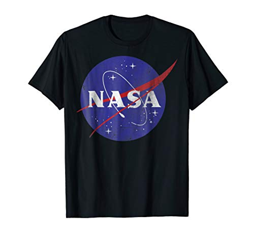 NASA Classic Blue Logo Distressed Vintage Graphic T-Shirt