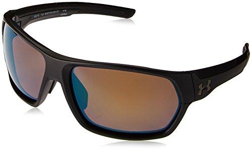 (Under Armour Wrap Sunglasses, UA Shock Storm (ANSI) Matte Black Frame/Shoreline Tuned Polar Lens, L)