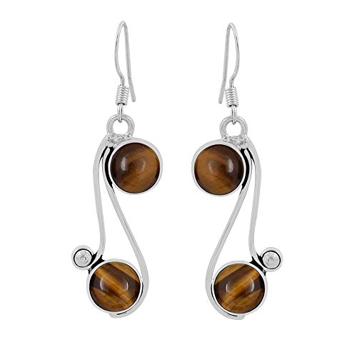Natural Round Shape Tiger Eye Dangle Earrings 925 Silver Overlay Handmade Vintage Style Jewelry For Women Girls ()